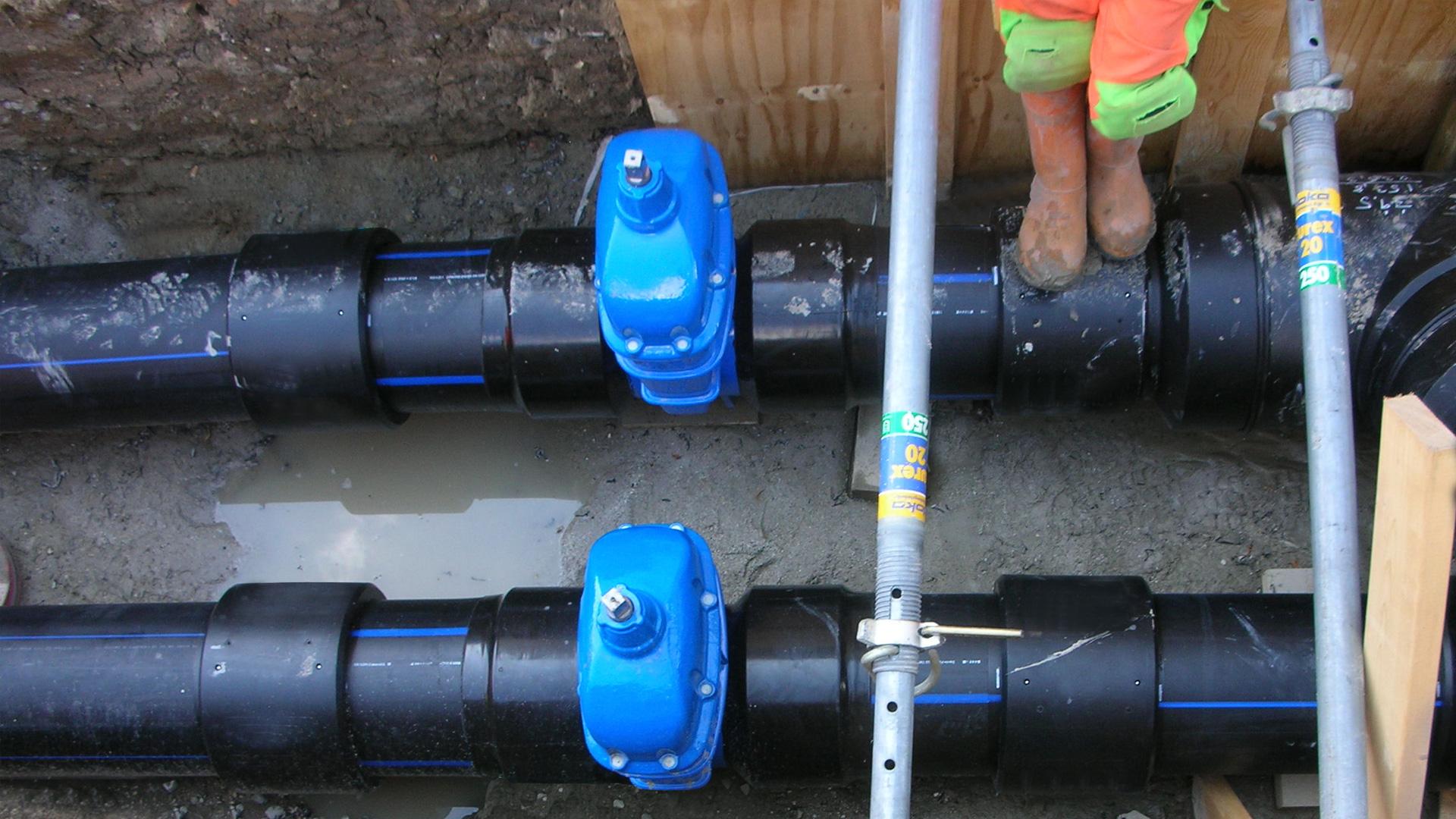 Gate valves for district cooling installation at Carlsberg Byen, Copenhagen, Denmark